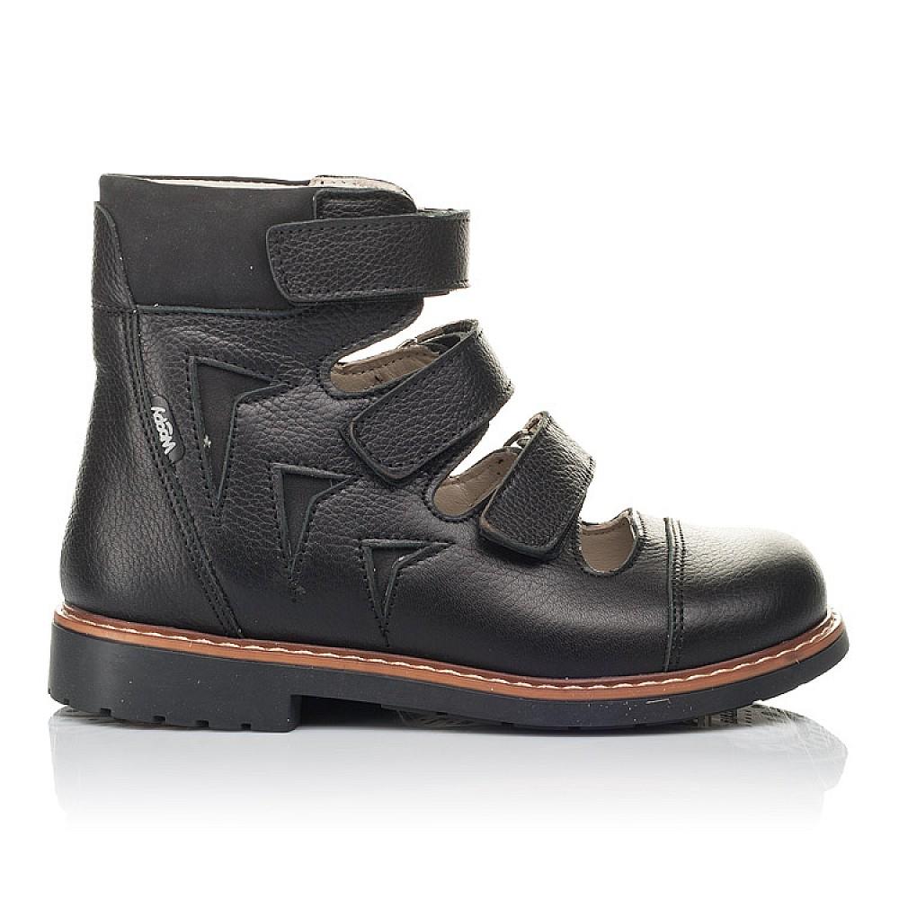 Детские ортопедические туфли (с высоким берцем) Woopy Orthopedic черные для мальчиков натуральная кожа размер 30-36 (4276) Фото 3