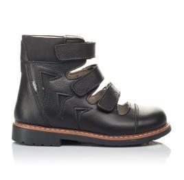 Детские ортопедичні туфлі (з високим берцями) Woopy Orthopedic черные для мальчиков натуральная кожа размер 30-36 (4276) Фото 3