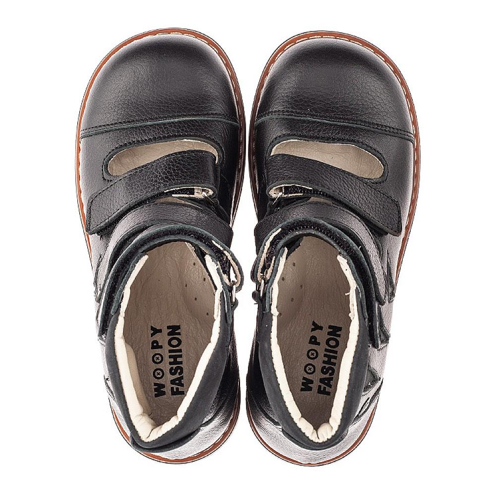 Детские ортопедические туфли (с высоким берцем) Woopy Orthopedic черные для мальчиков натуральная кожа размер 30-36 (4276) Фото 4