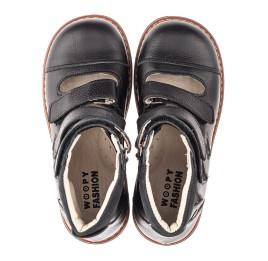 Детские ортопедичні туфлі (з високим берцями) Woopy Orthopedic черные для мальчиков натуральная кожа размер 30-36 (4276) Фото 4