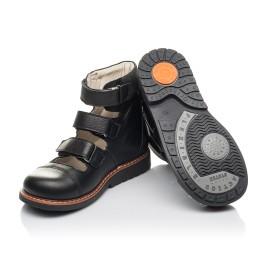 Детские ортопедичні туфлі (з високим берцями) Woopy Orthopedic черные для мальчиков натуральная кожа размер 30-36 (4276) Фото 5