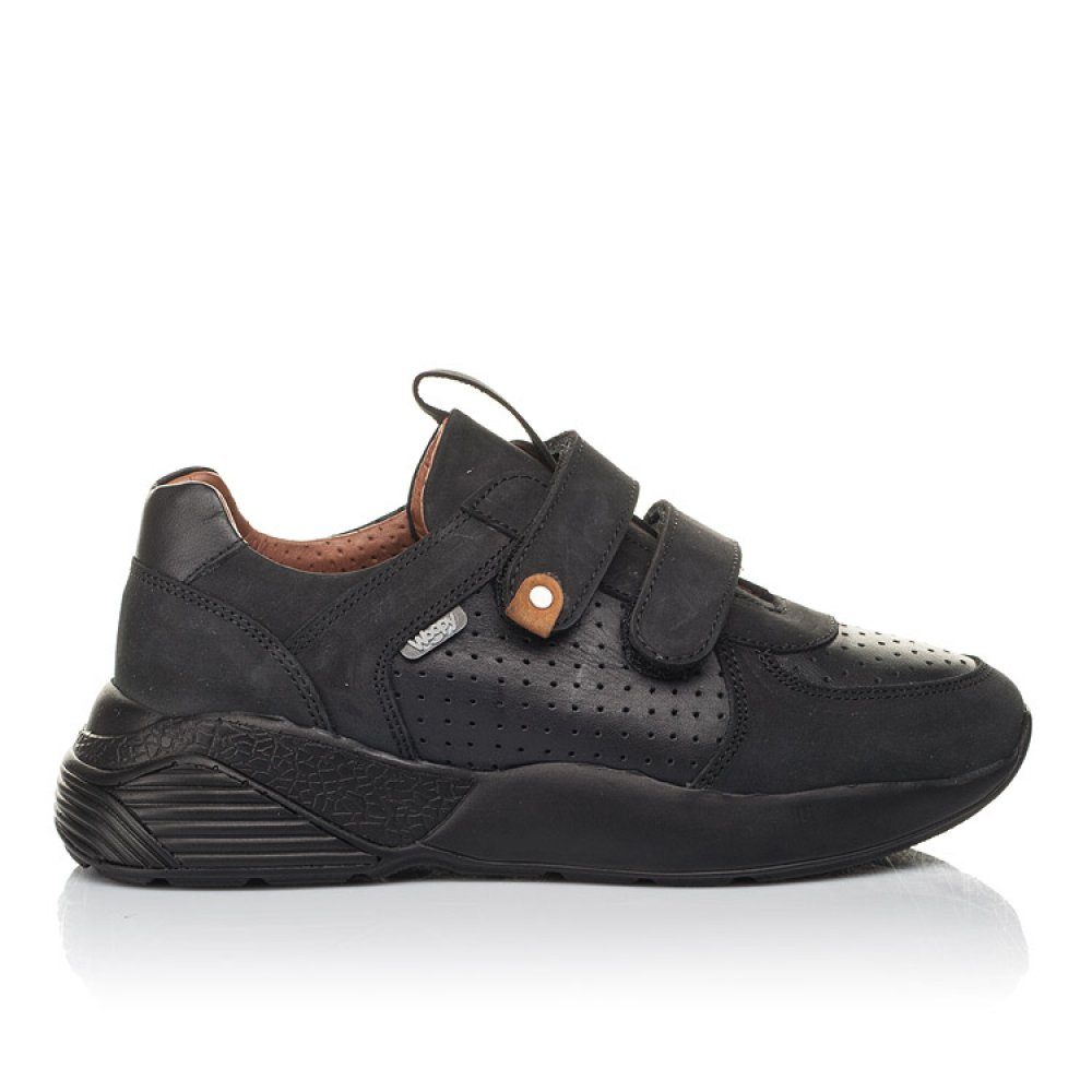 Детские кроссовки Woopy Orthopedic черные для мальчиков натуральная кожа и нубук размер 30-40 (4277) Фото 4