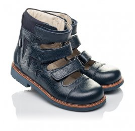 Детские ортопедичні туфлі (з високим берцями) Woopy Orthopedic синие для мальчиков натуральная кожа размер 30-36 (4279) Фото 1