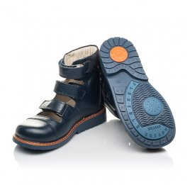 Детские ортопедичні туфлі (з високим берцями) Woopy Orthopedic синие для мальчиков натуральная кожа размер 30-36 (4279) Фото 2