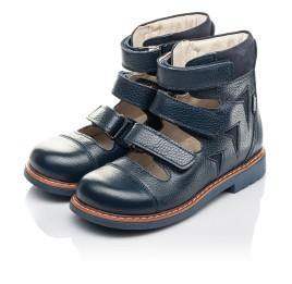 Детские ортопедические туфли (с высоким берцем) Woopy Orthopedic синие для мальчиков натуральная кожа размер 30-36 (4279) Фото 3