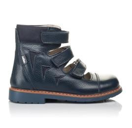 Детские ортопедические туфли (с высоким берцем) Woopy Orthopedic синие для мальчиков натуральная кожа размер 30-36 (4279) Фото 4