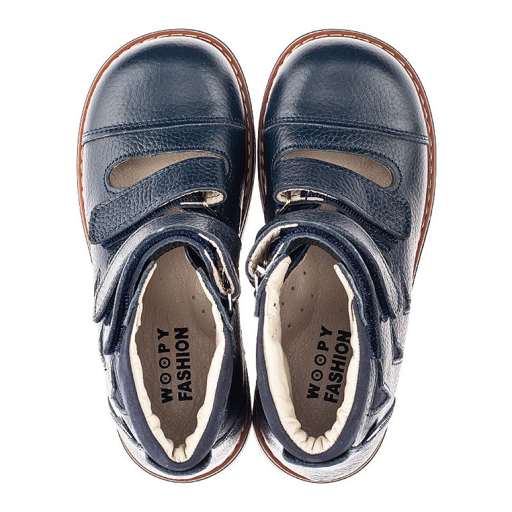 Детские ортопедические туфли (с высоким берцем) Woopy Orthopedic синие для мальчиков натуральная кожа размер 30-36 (4279) Фото 5