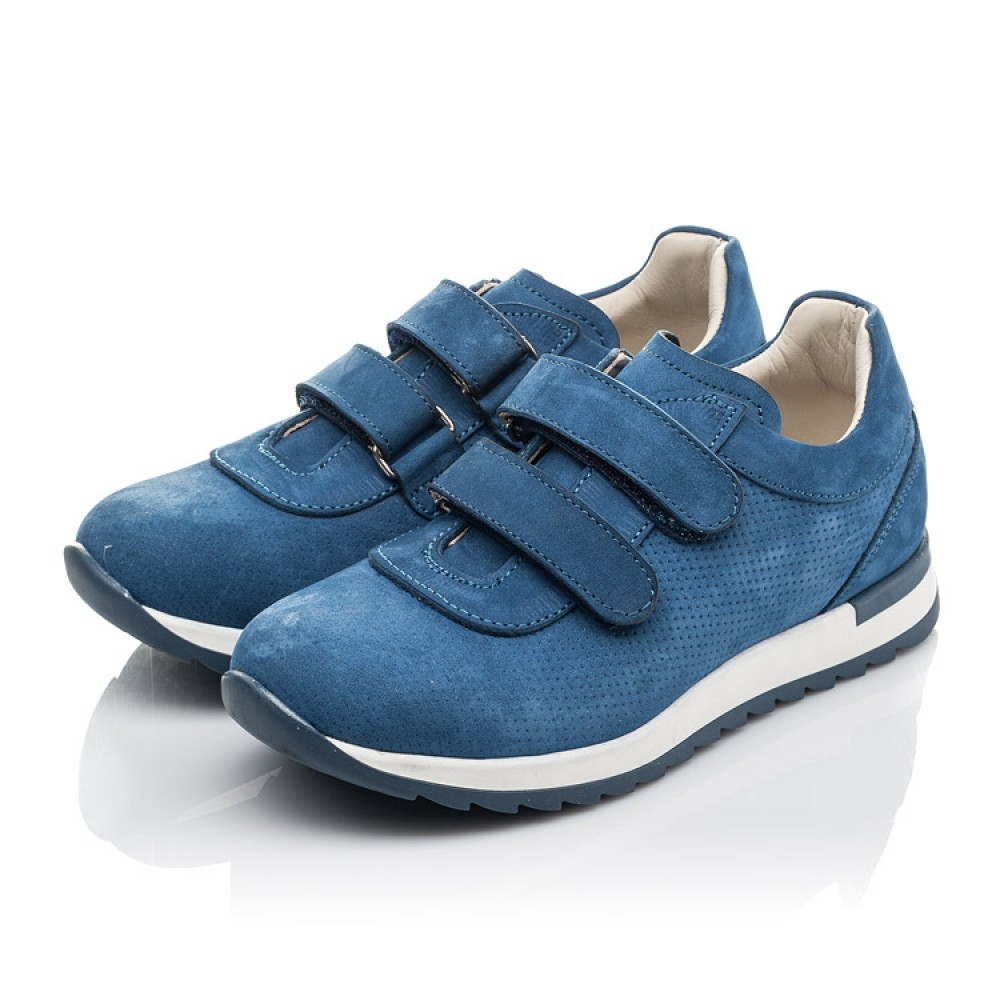 Детские кроссовки Woopy Orthopedic голубые для мальчиков натуральный нубук размер 21-33 (4285) Фото 3