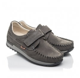 Детские туфлі Woopy Orthopedic серые для мальчиков натуральный нубук размер 33-37 (4288) Фото 1