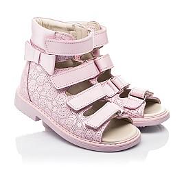 Детские ортопедические босоножки (с высоким берцем) Woopy Fashion розовые для девочек натуральная кожа размер 21-33 (4291) Фото 1