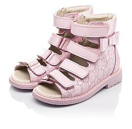 Детские ортопедические босоножки (с высоким берцем) Woopy Fashion розовые для девочек натуральная кожа размер 21-33 (4291) Фото 3