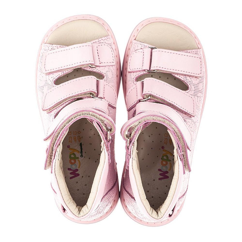 Детские ортопедические босоножки (с высоким берцем) Woopy Fashion розовые для девочек натуральная кожа размер 21-33 (4291) Фото 5