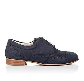 Детские туфли (шнурок резинка) Woopy Fashion синие для девочек натуральный нубук размер 32-37 (4292) Фото 4