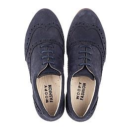 Детские туфли (шнурок резинка) Woopy Fashion синие для девочек натуральный нубук размер 32-37 (4292) Фото 5