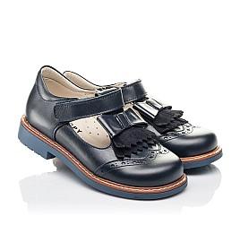 Детские туфли Woopy Fashion синие для девочек натуральная кожа размер 30-33 (4298) Фото 1