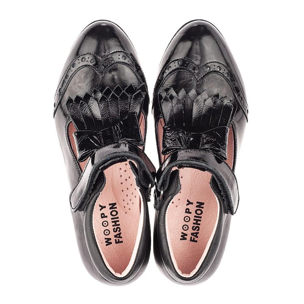 Детские туфли Woopy Fashion черные для девочек натуральная лаковая кожа размер 33-39 (4299) Фото 5