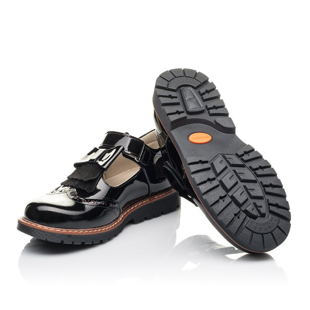 Детские туфли Woopy Fashion черные для девочек натуральная лаковая кожа размер 31-36 (4302) Фото 2