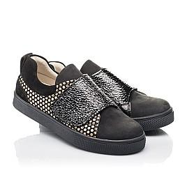 Детские кеди Woopy Fashion черные для девочек натуральный нубук размер 29-33 (4303) Фото 1