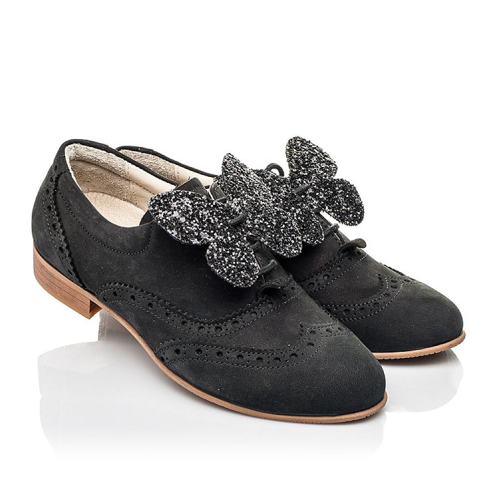 Детские туфли (шнурок резинка) Woopy Fashion черные для девочек натуральный нубук размер 32-37 (4307) Фото 1