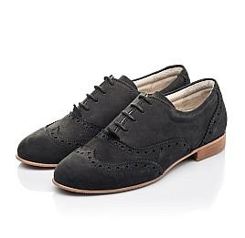 Детские туфли (шнурок резинка) Woopy Fashion черные для девочек натуральный нубук размер 32-37 (4307) Фото 3