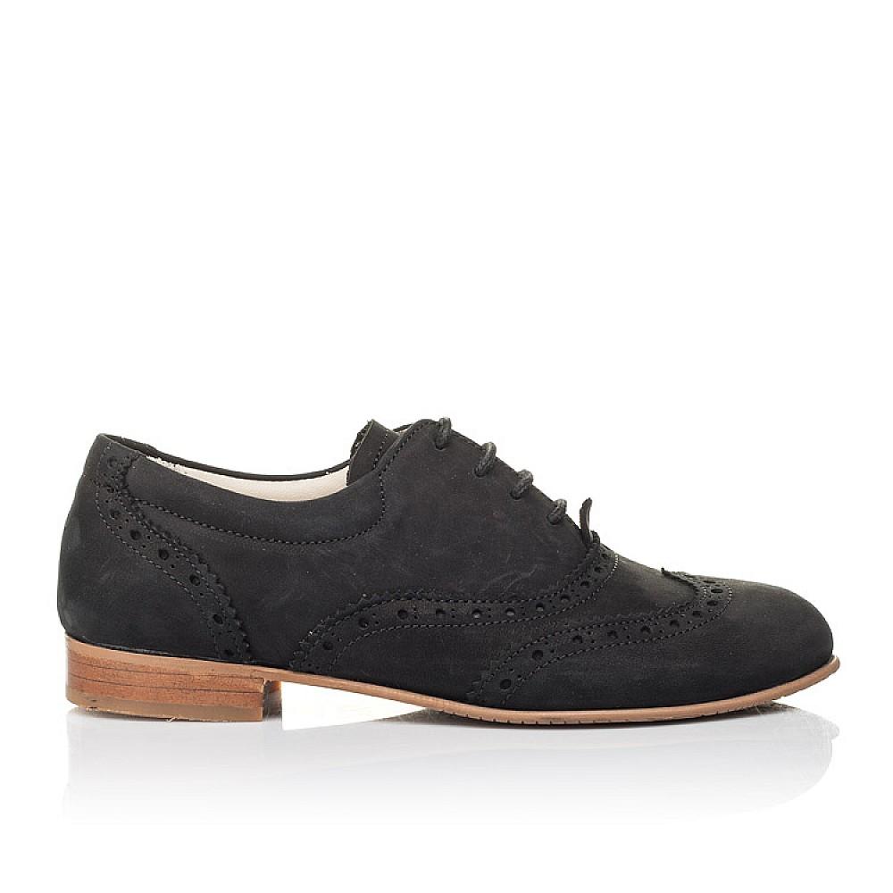 Детские туфли (шнурок резинка) Woopy Fashion черные для девочек натуральный нубук размер 32-37 (4307) Фото 4