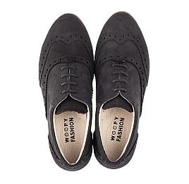 Детские туфли (шнурок резинка) Woopy Fashion черные для девочек натуральный нубук размер 32-37 (4307) Фото 5