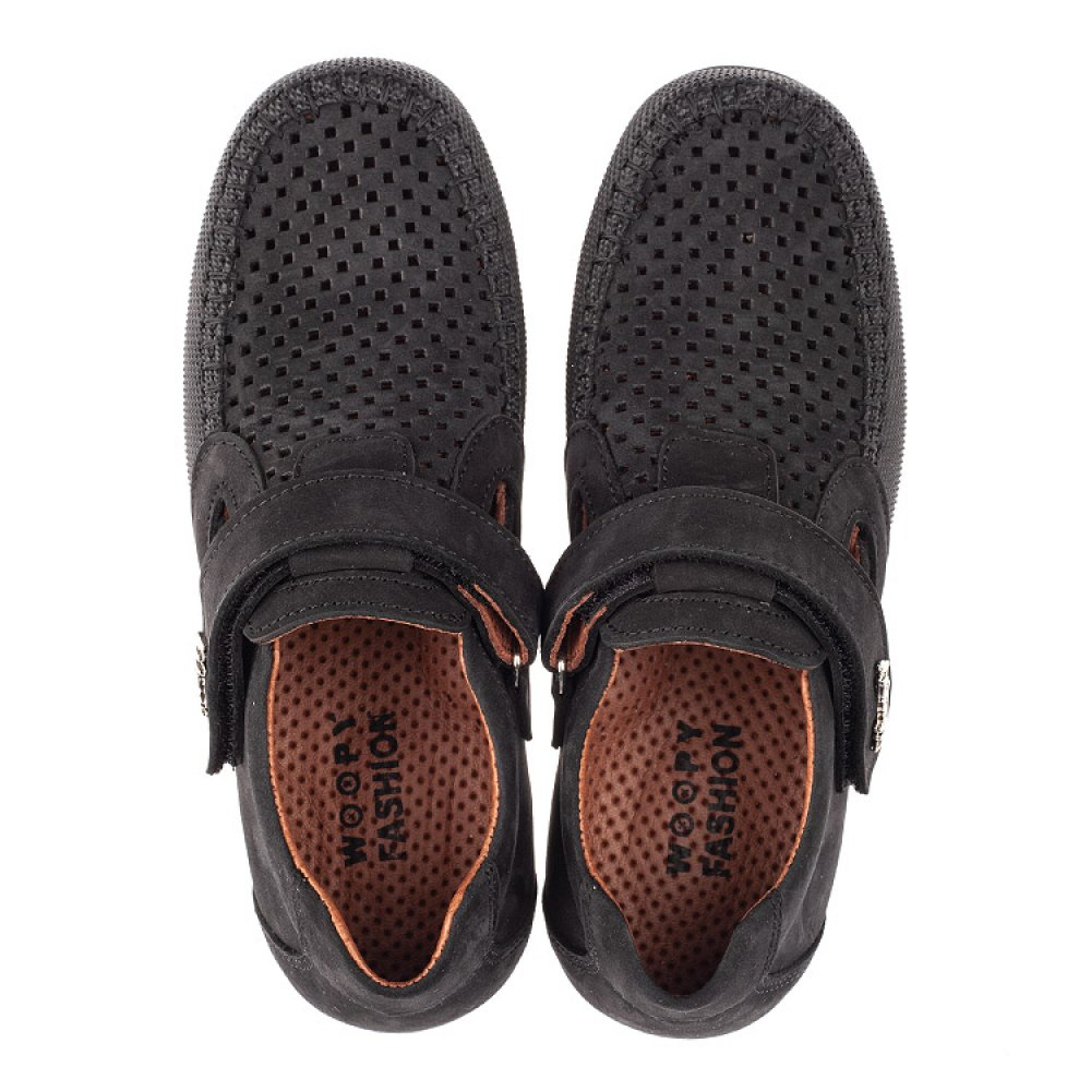 Детские туфли Woopy Fashion черные для мальчиков натуральный нубук размер 29-37 (4312) Фото 5