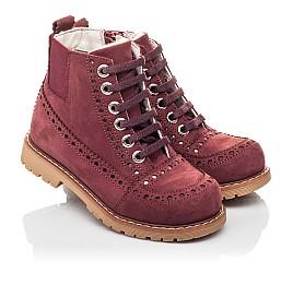 Детские демисезонные ботинки Woopy Fashion бордовые для девочек натуральный нубук размер 24-27 (4322) Фото 1