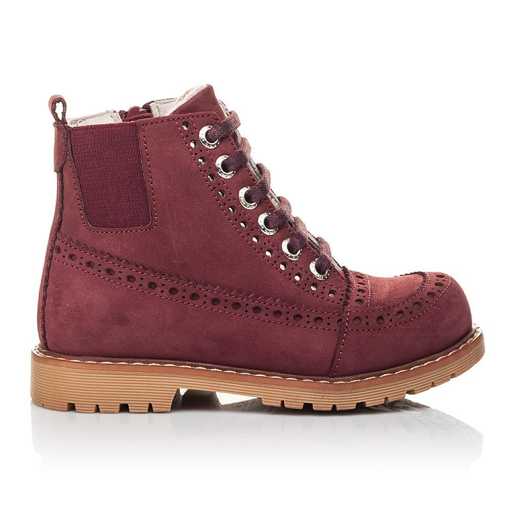 Детские демисезонные ботинки Woopy Fashion бордовые для девочек натуральный нубук размер 24-36 (4322) Фото 4