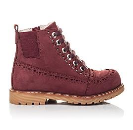 Детские демисезонные ботинки Woopy Fashion бордовые для девочек натуральный нубук размер 24-27 (4322) Фото 4