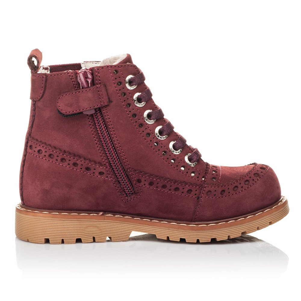 Детские демисезонные ботинки Woopy Fashion бордовые для девочек натуральный нубук размер 24-36 (4322) Фото 5