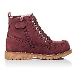 Детские демисезонные ботинки Woopy Fashion бордовые для девочек натуральный нубук размер 24-27 (4322) Фото 5