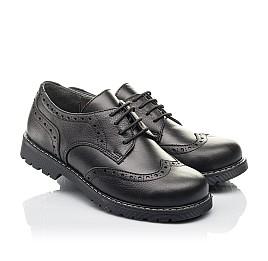 Детские туфли (шнурок резинка) Woopy Fashion черные для мальчиков натуральная кожа размер 32-38 (4327) Фото 1