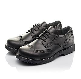 Детские туфли (шнурок резинка) Woopy Fashion черные для мальчиков натуральная кожа размер 32-38 (4327) Фото 3