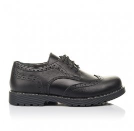 Детские туфли (шнурок резинка) Woopy Fashion черные для мальчиков натуральная кожа размер 32-38 (4327) Фото 4