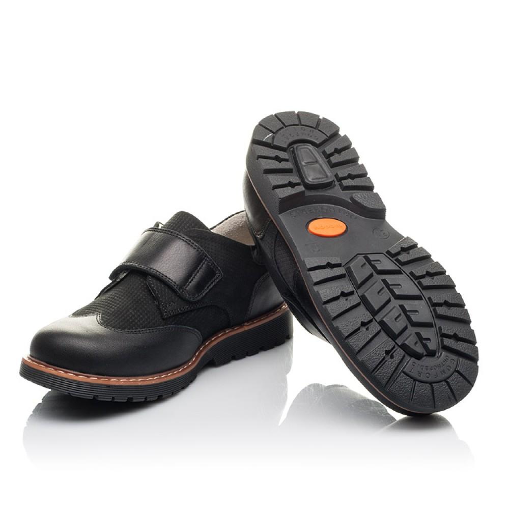 Детские туфли Woopy Fashion черные для мальчиков натуральная кожа и нубук размер 30-40 (4329) Фото 2