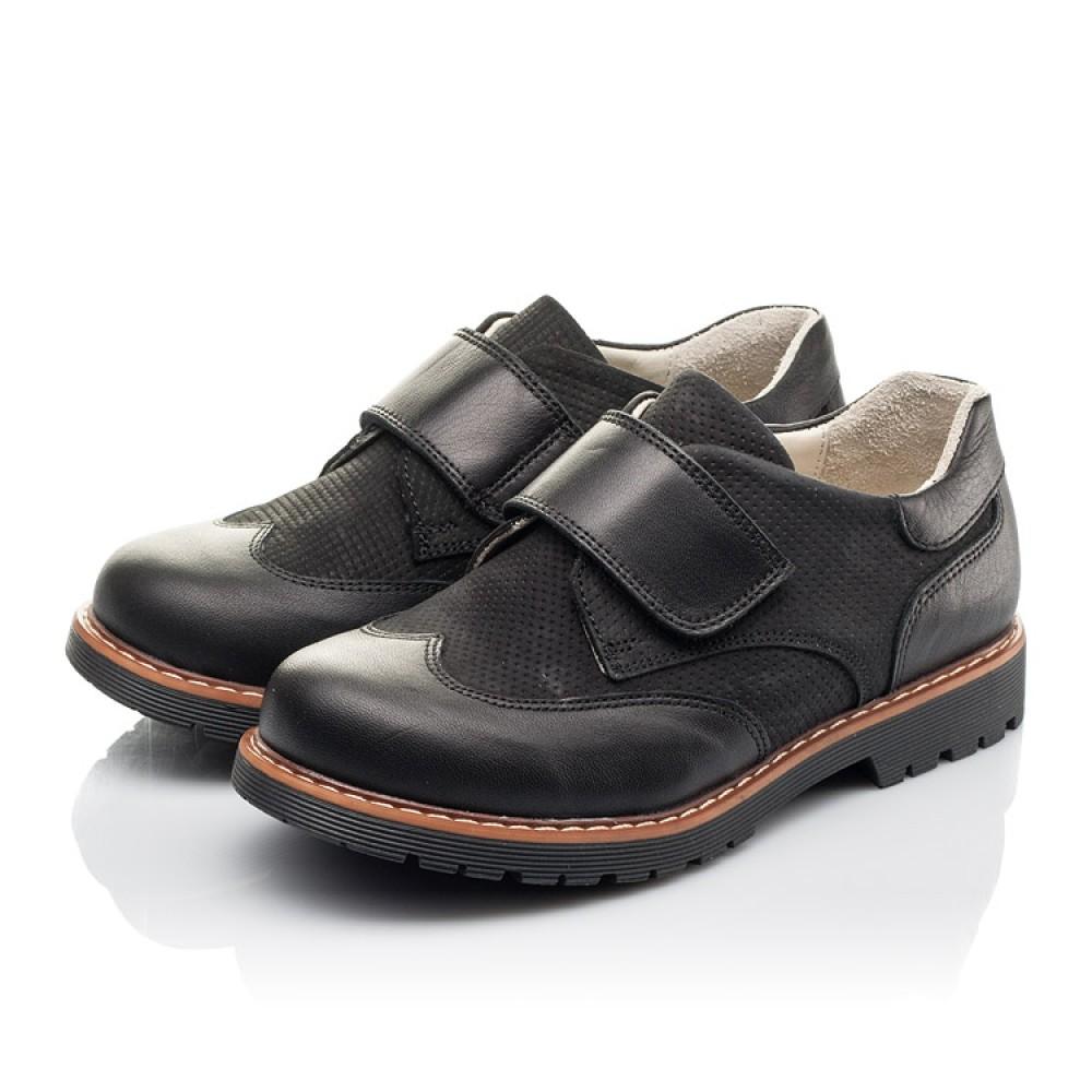 Детские туфли Woopy Fashion черные для мальчиков натуральная кожа и нубук размер 30-40 (4329) Фото 3