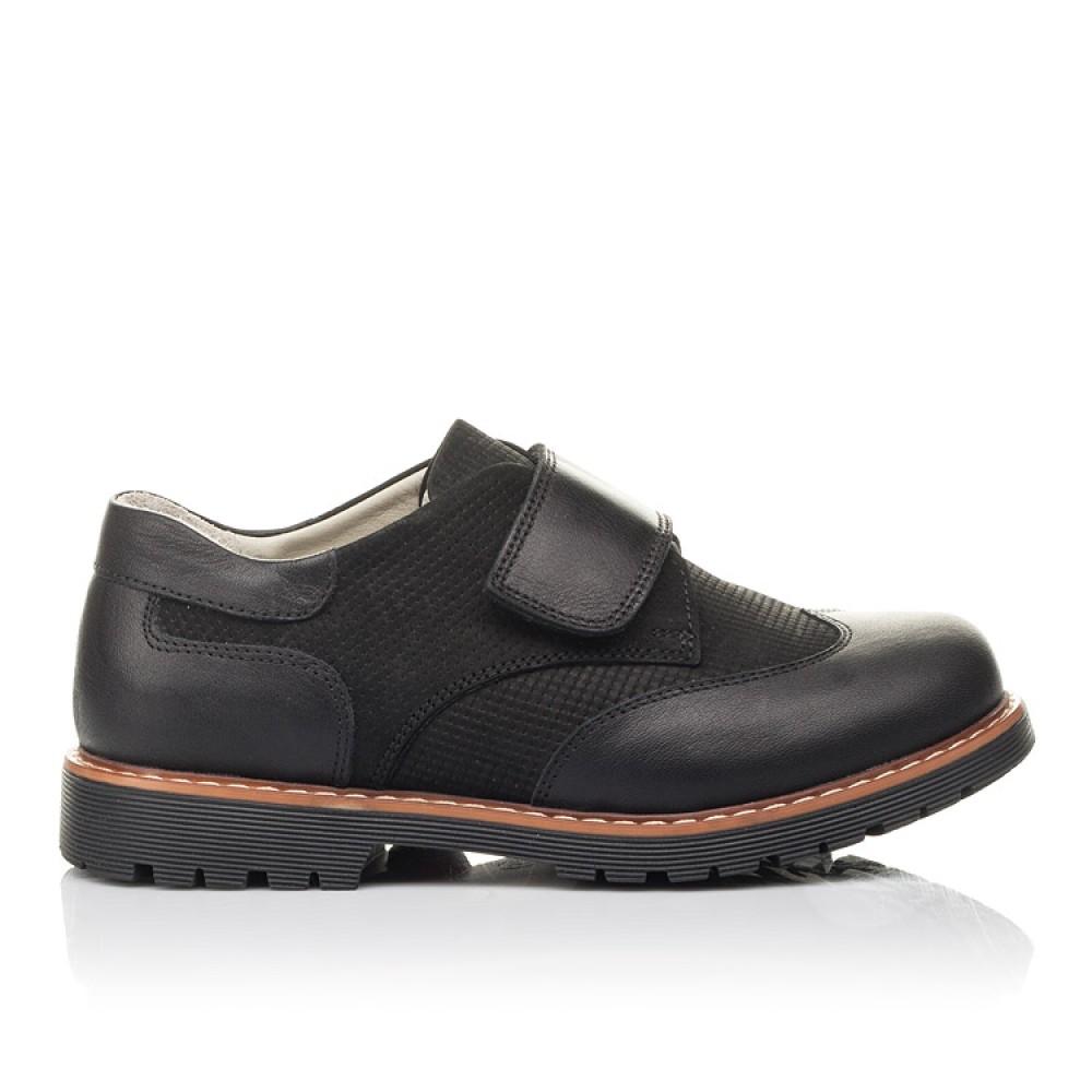 Детские туфли Woopy Fashion черные для мальчиков натуральная кожа и нубук размер 30-40 (4329) Фото 4