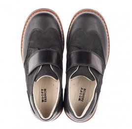 Детские туфли Woopy Fashion черные для мальчиков натуральная кожа и нубук размер 30-40 (4329) Фото 5