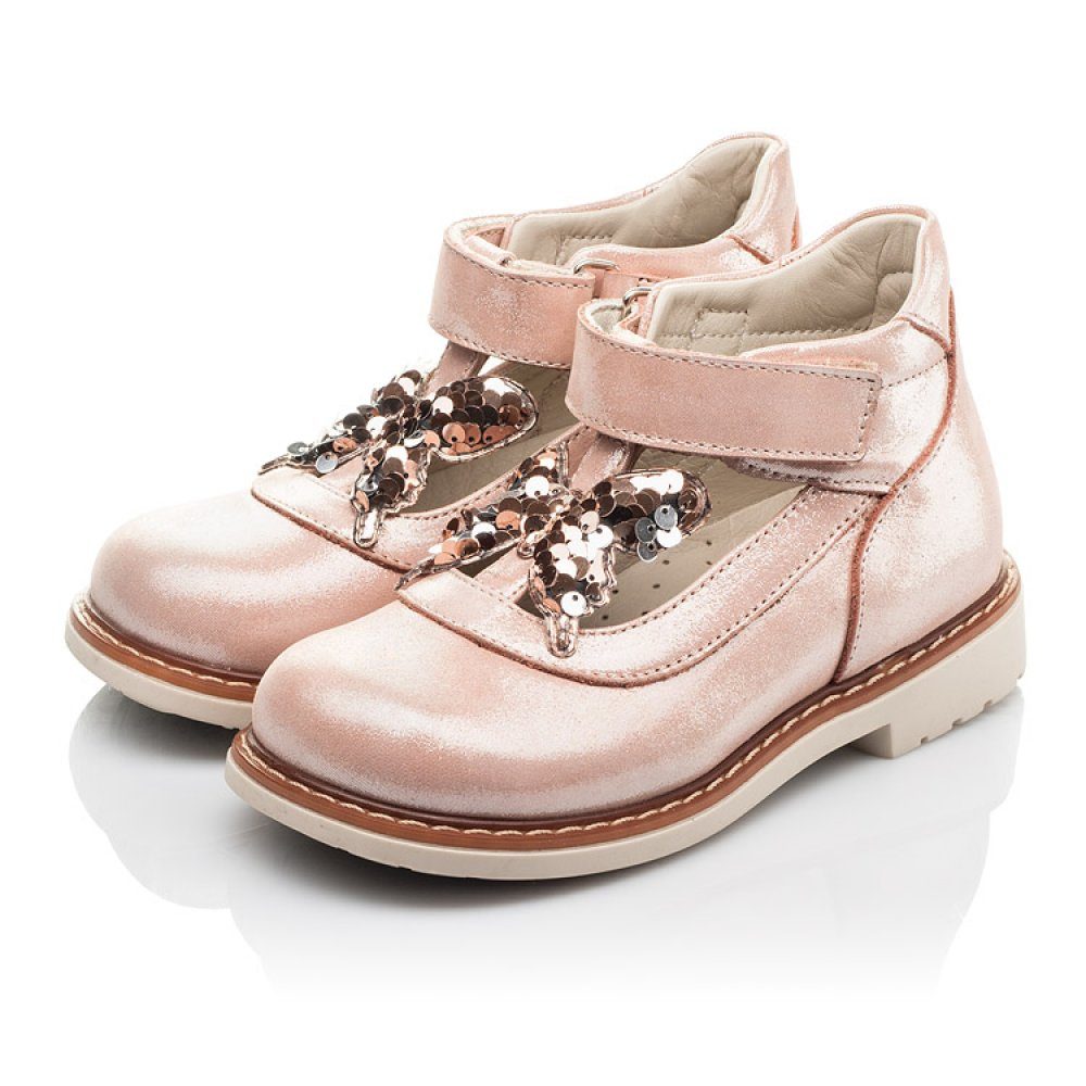 Детские туфли Woopy Fashion бежевые для девочек натуральный нубук размер 18-30 (4332) Фото 3