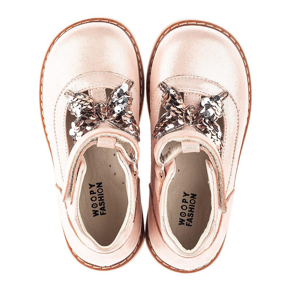 Детские туфли Woopy Fashion бежевые для девочек натуральный нубук размер 18-30 (4332) Фото 5