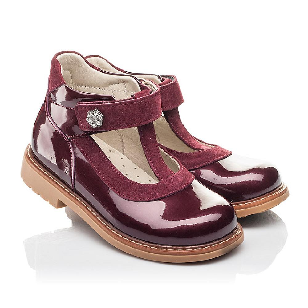 Детские туфли Woopy Fashion бордовые для девочек натуральная лаковая кожа размер 26-34 (4334) Фото 1