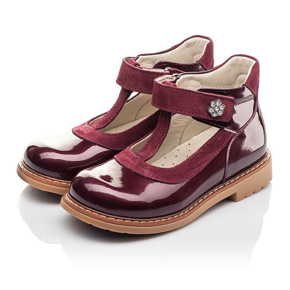 Детские туфли Woopy Fashion бордовые для девочек натуральная лаковая кожа размер 26-34 (4334) Фото 3