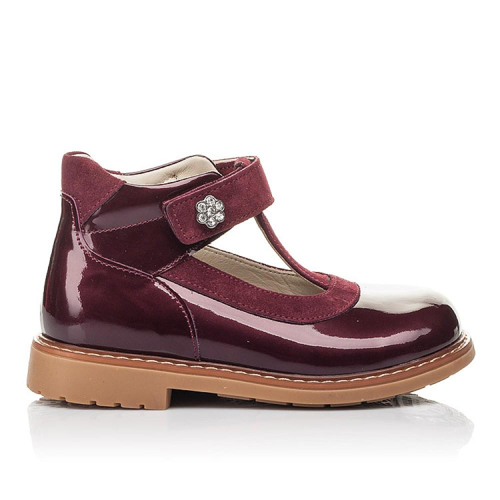 Детские туфли Woopy Fashion бордовые для девочек натуральная лаковая кожа размер 26-34 (4334) Фото 4