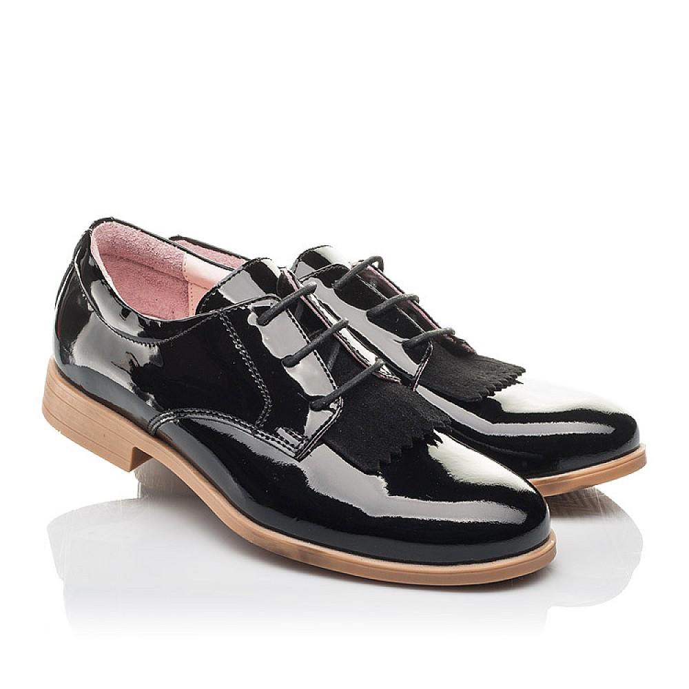 Детские туфли (шнурок резинка) Woopy Fashion черные для девочек натуральная лаковая кожа размер 33-40 (4338) Фото 1