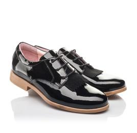 Детские туфли (шнурок резинка) Woopy Fashion черные для девочек натуральная лаковая кожа размер 37-40 (4338) Фото 1
