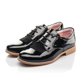 Детские туфли (шнурок резинка) Woopy Fashion черные для девочек натуральная лаковая кожа размер 33-40 (4338) Фото 3