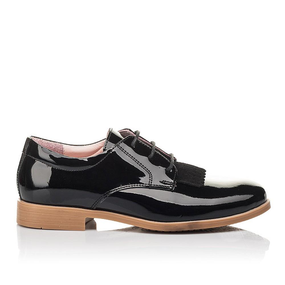 Детские туфли (шнурок резинка) Woopy Fashion черные для девочек натуральная лаковая кожа размер 33-40 (4338) Фото 4