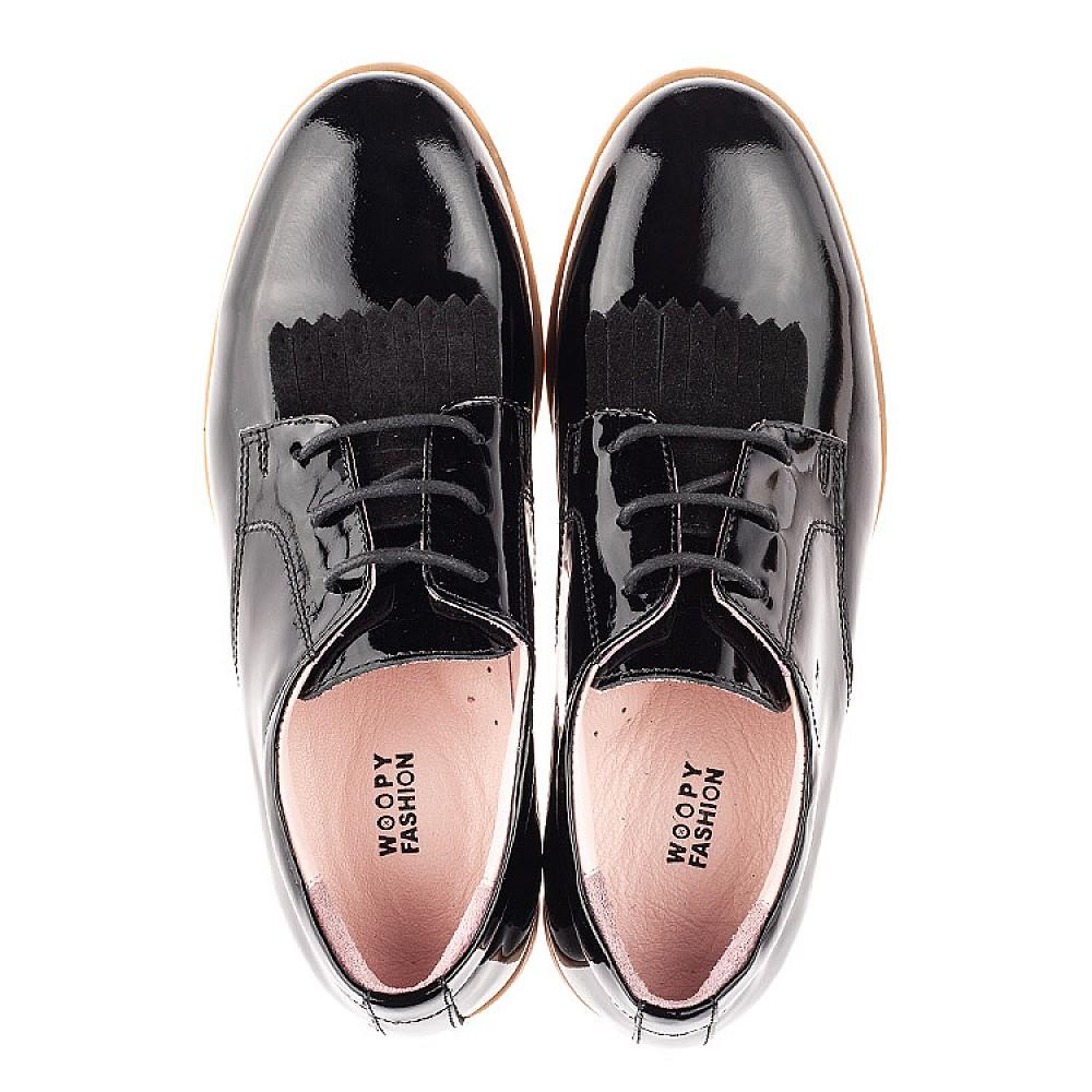 Детские туфли (шнурок резинка) Woopy Fashion черные для девочек натуральная лаковая кожа размер 33-40 (4338) Фото 5