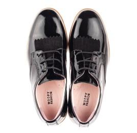 Детские туфли (шнурок резинка) Woopy Fashion черные для девочек натуральная лаковая кожа размер 37-40 (4338) Фото 5